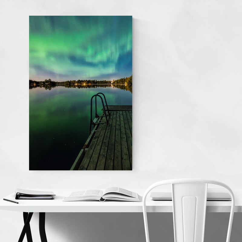 Aurora Borealis Lake Sweden Canvas Art Print