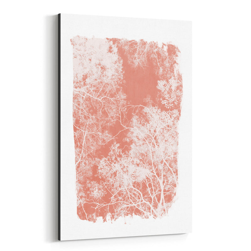 Minimal Pink Tree Leaves Canvas Art Print