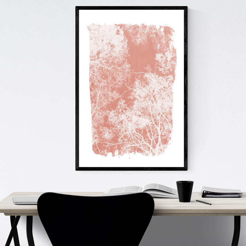 Minimal Pink Tree Leaves Framed Art Print