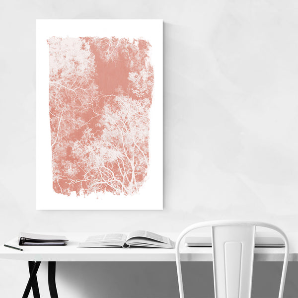 Minimal Pink Tree Leaves Art Print
