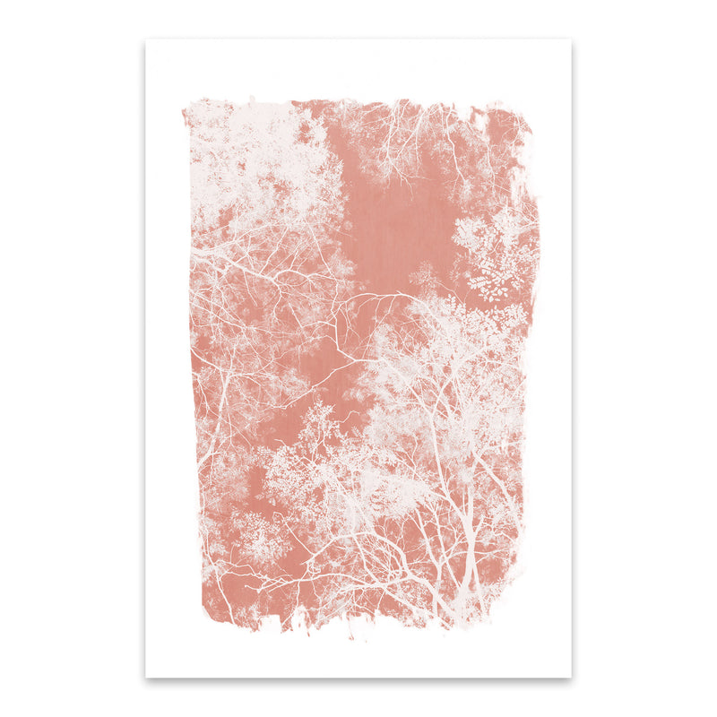 Minimal Pink Tree Leaves Metal Art Print