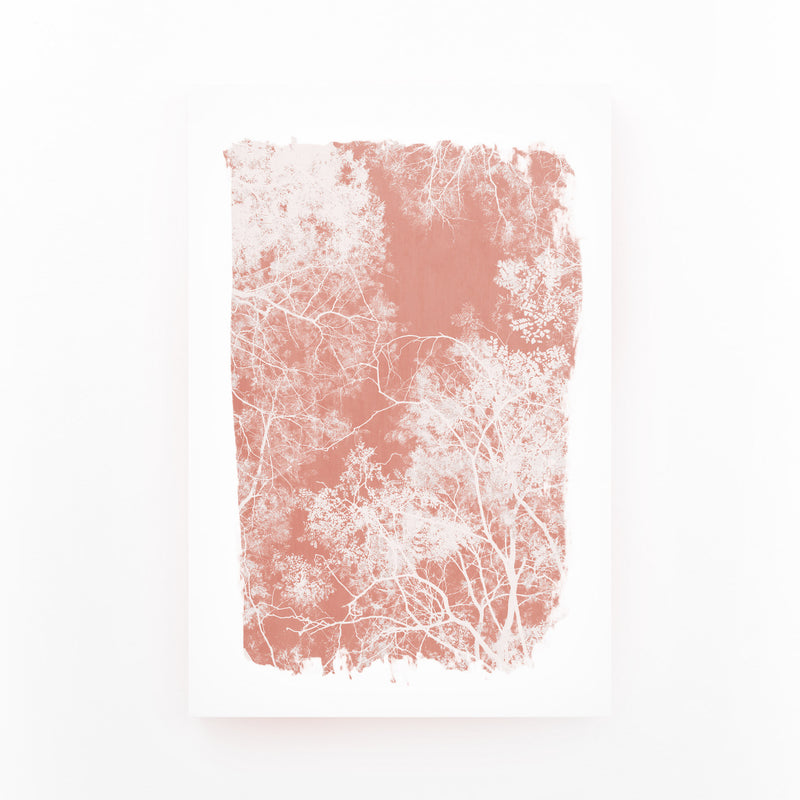 Minimal Pink Tree Leaves Mounted Art Print