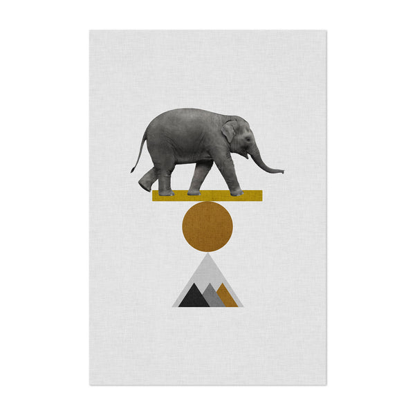 Abstract Geometric Elephant Art Print