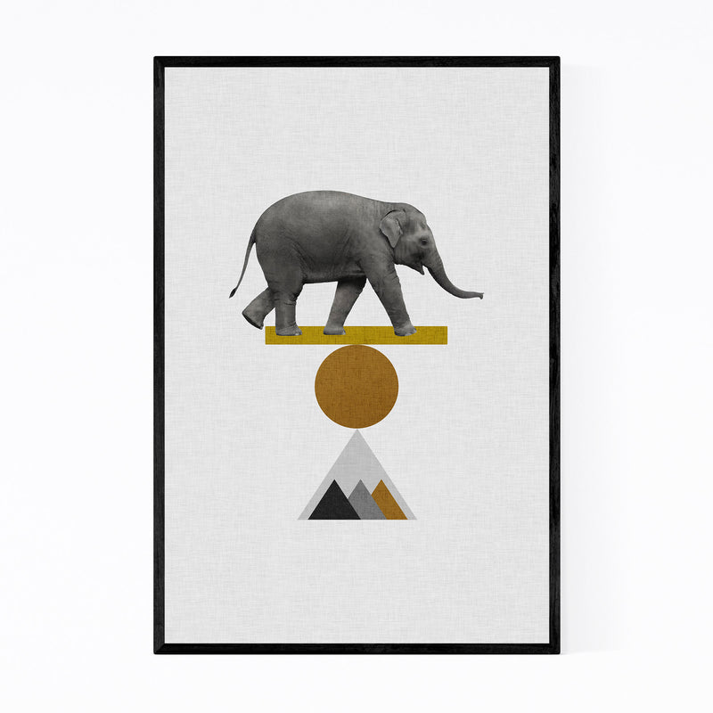 Abstract Geometric Elephant Framed Art Print