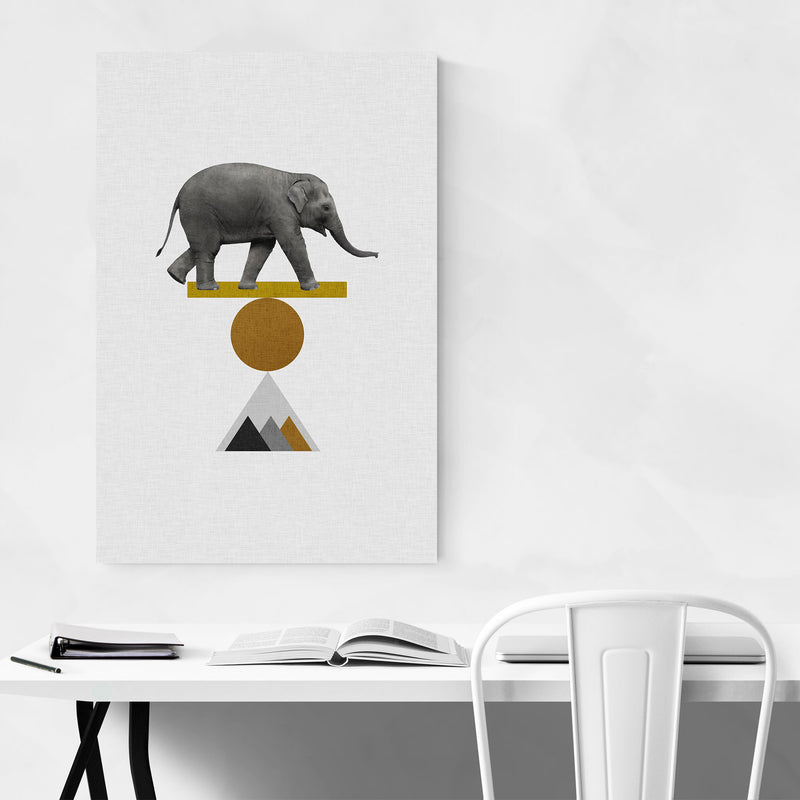 Abstract Geometric Elephant Canvas Art Print