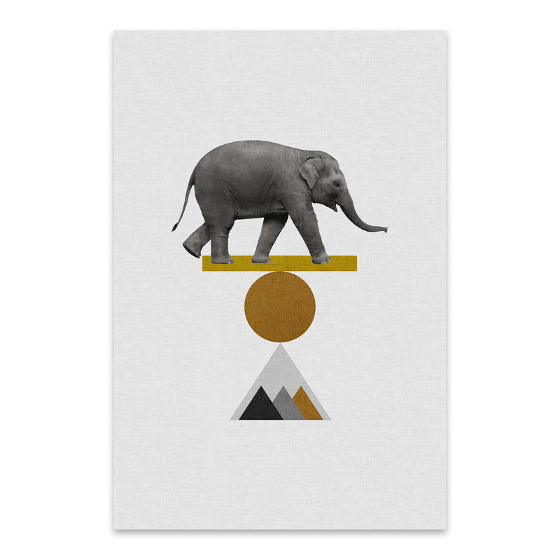 Abstract Geometric Elephant Metal Art Print