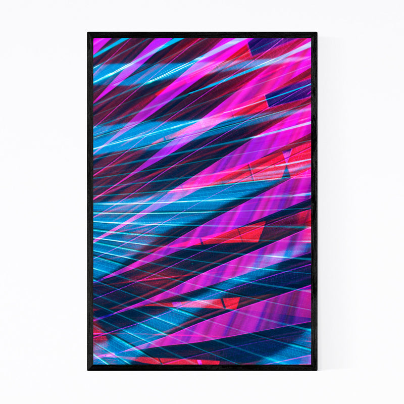 Abstract Blue & Purple Palms Framed Art Print