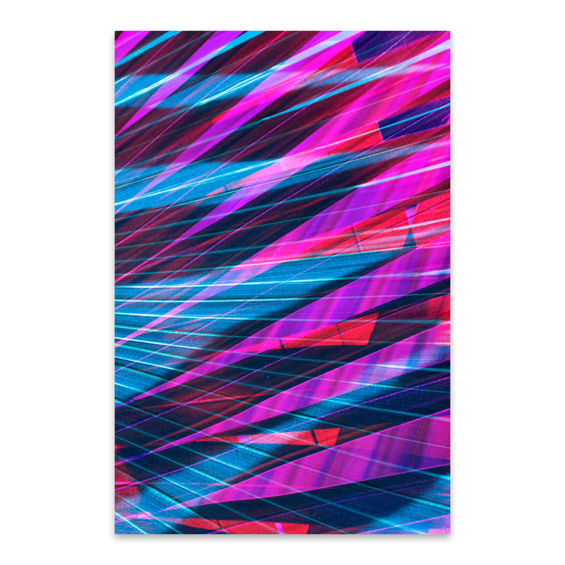 Abstract Blue & Purple Palms Metal Art Print