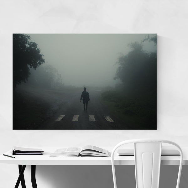 Fog Man Forest Walking Art Print