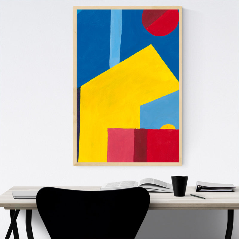 Abstract City Geometric Painting Framed Art Print