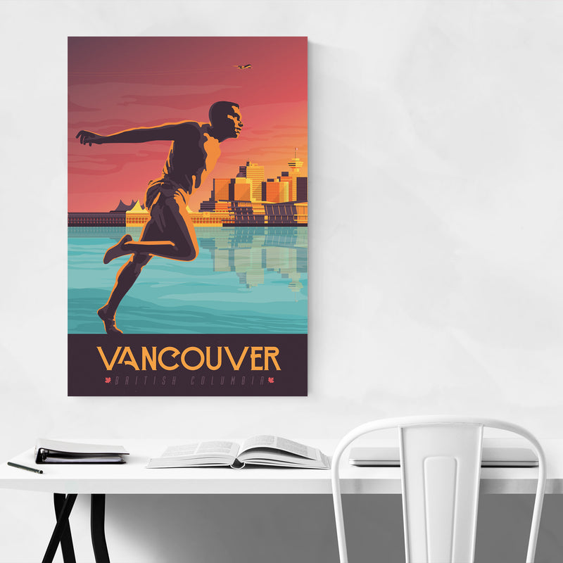 Retro Vancouver Travel Print Art Print