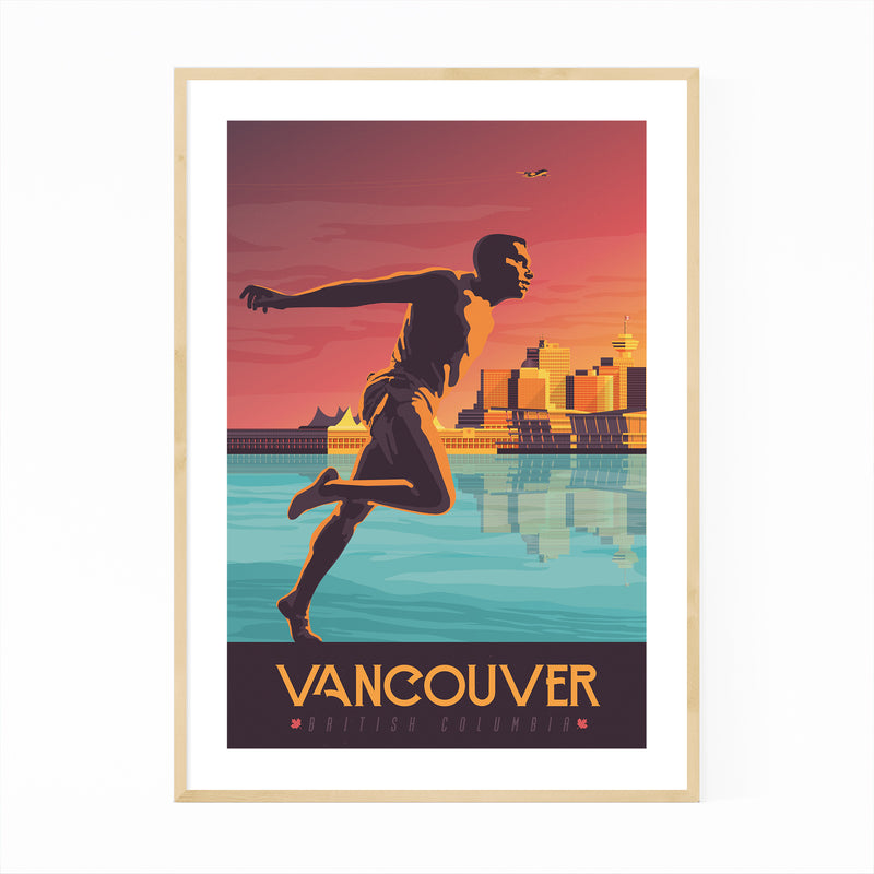Retro Vancouver Travel Print Framed Art Print