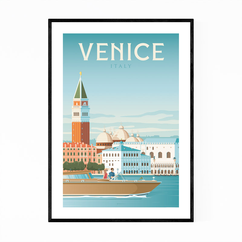 Retro Venice Italy Travel Print Framed Art Print