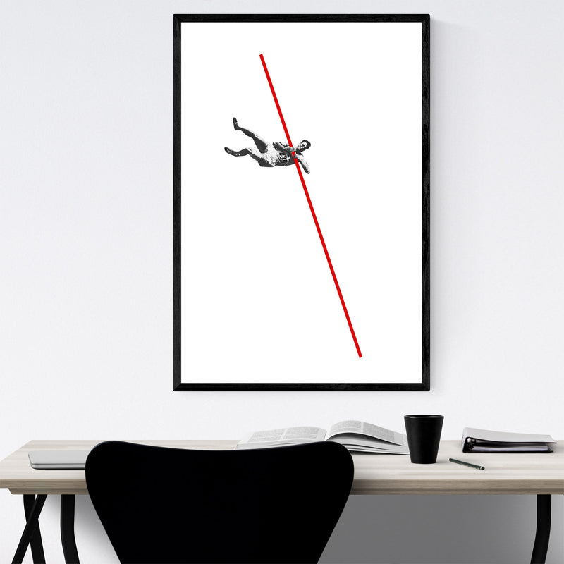 Abstract Vintage Pole Vaulter Framed Art Print