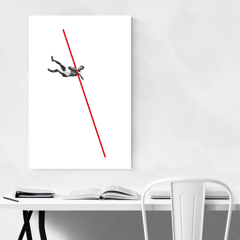Abstract Vintage Pole Vaulter Canvas Art Print