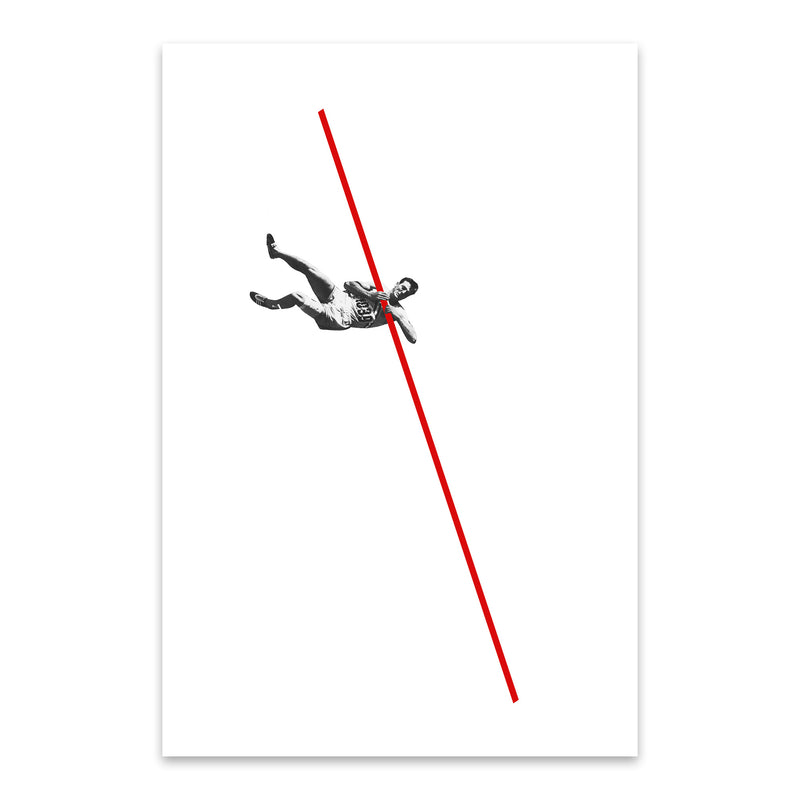 Abstract Vintage Pole Vaulter Metal Art Print