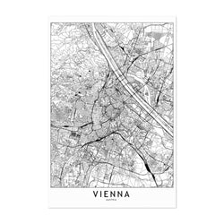 Vienna Black & White City Map Art Print
