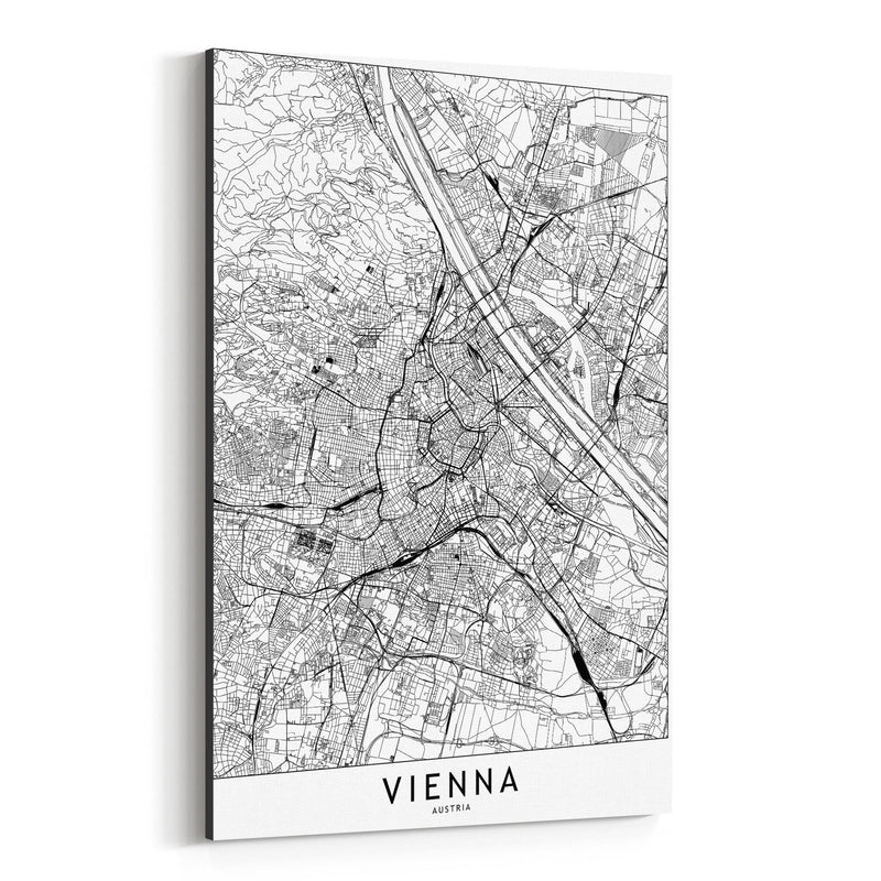 Vienna Black & White City Map Canvas Art Print