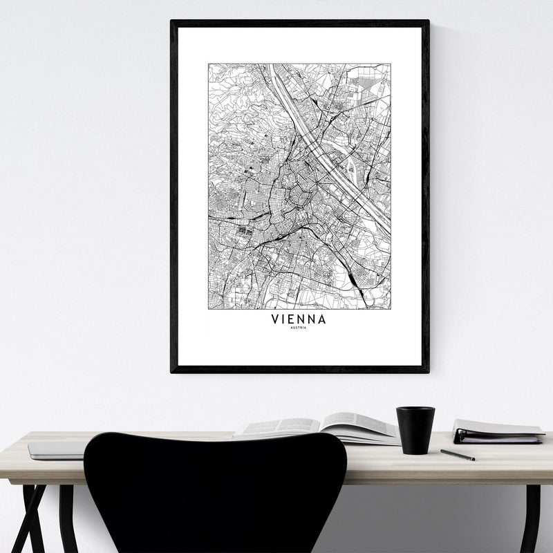 Vienna Black & White City Map Framed Art Print
