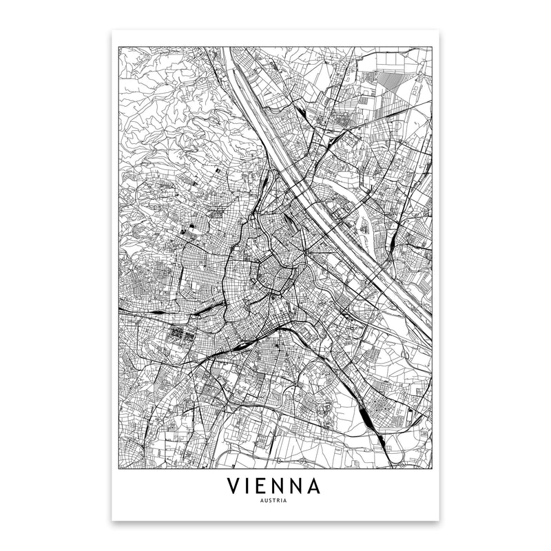 Vienna Black & White City Map Metal Art Print
