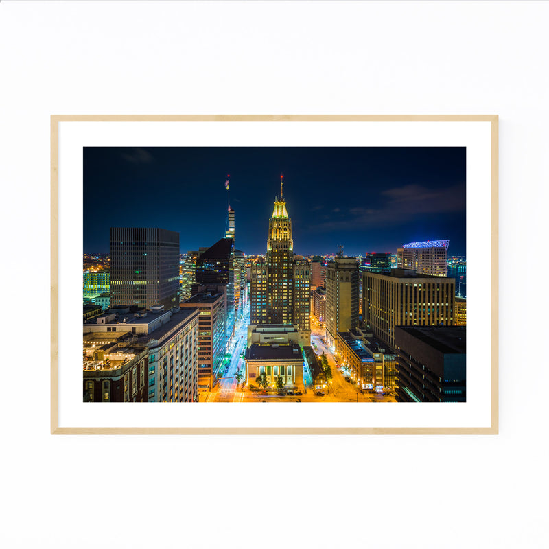 Highway at Night Long Exposure Framed Art Print