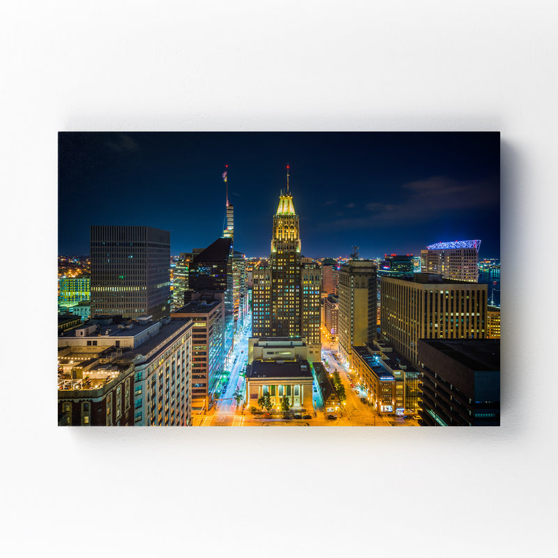 Highway at Night Long Exposure Mounted Art Print