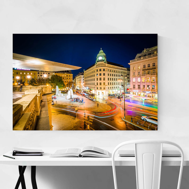 Vienna View of Albertinaplatz Metal Art Print