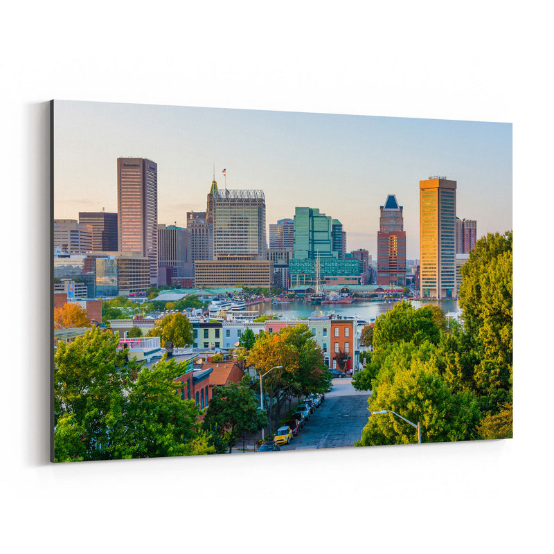 Baltimore Skyline Inner Harbor Canvas Art Print