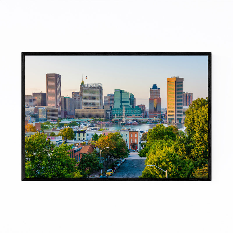 Baltimore Skyline Inner Harbor Framed Art Print