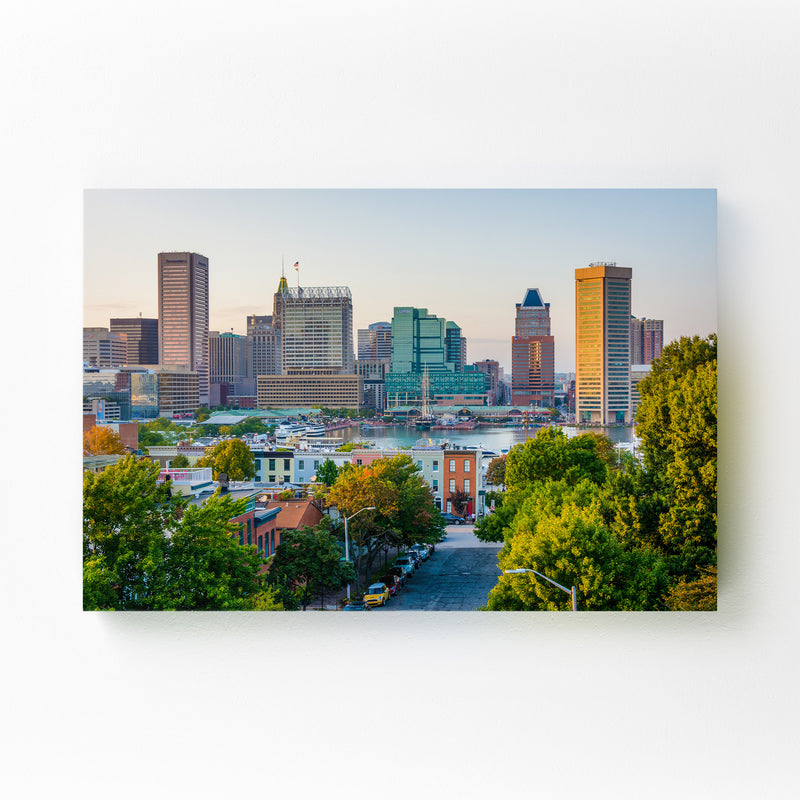 Baltimore Skyline Inner Harbor Mounted Art Print