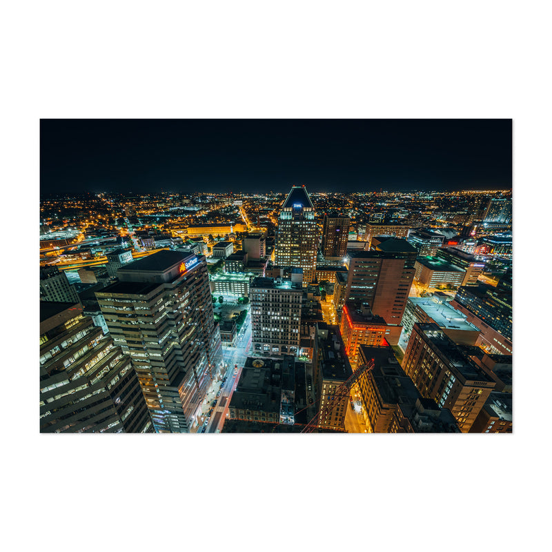 Baltimore Downtown Night Skyline Art Print