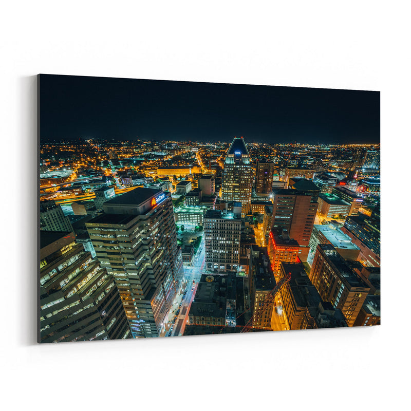Baltimore Downtown Night Skyline Canvas Art Print