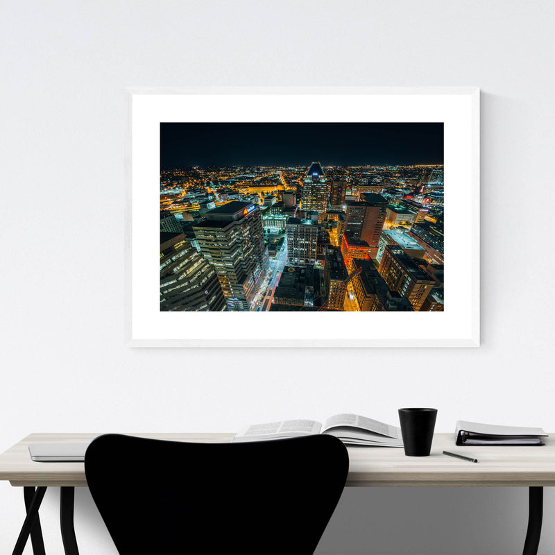 Baltimore Downtown Night Skyline Framed Art Print
