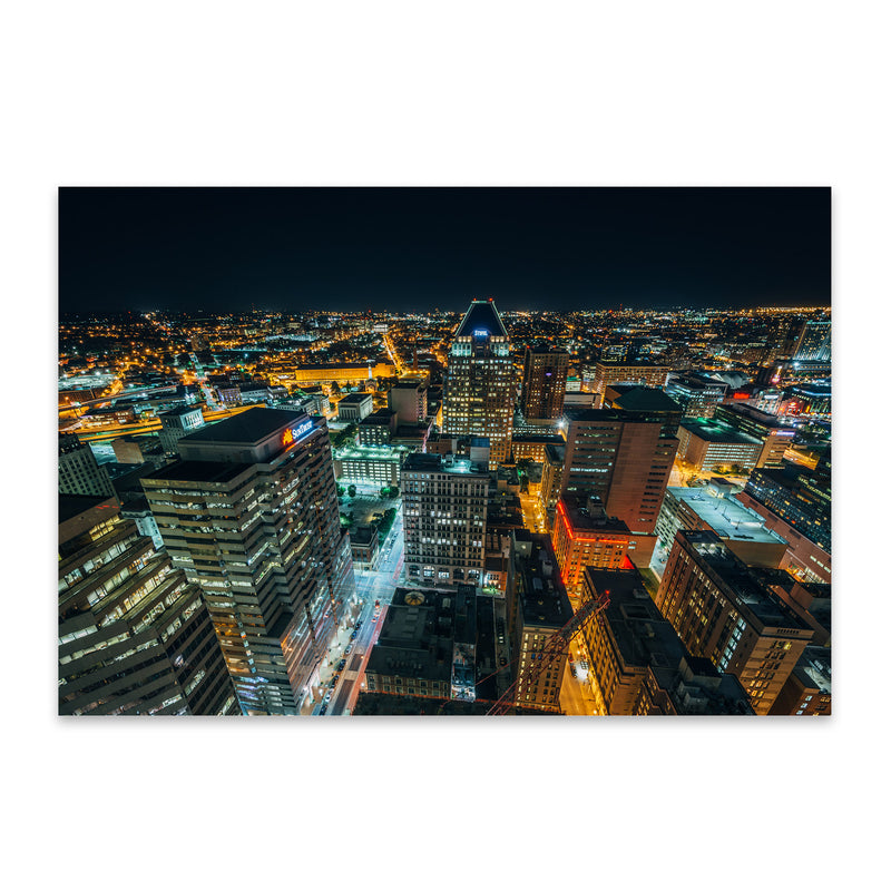 Baltimore Downtown Night Skyline Metal Art Print
