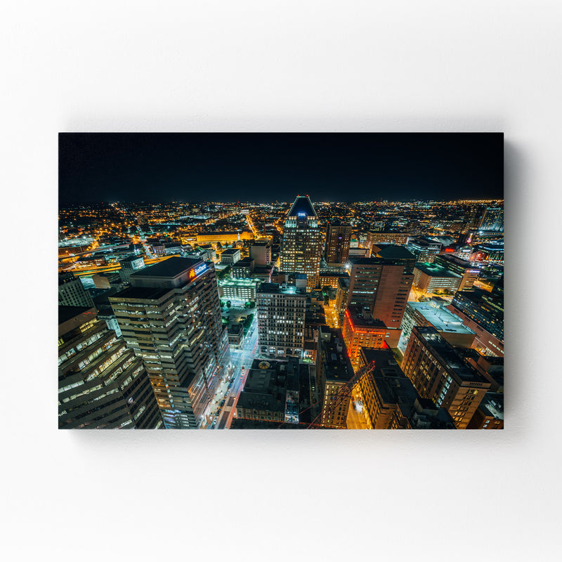 Baltimore Downtown Night Skyline Mounted Art Print