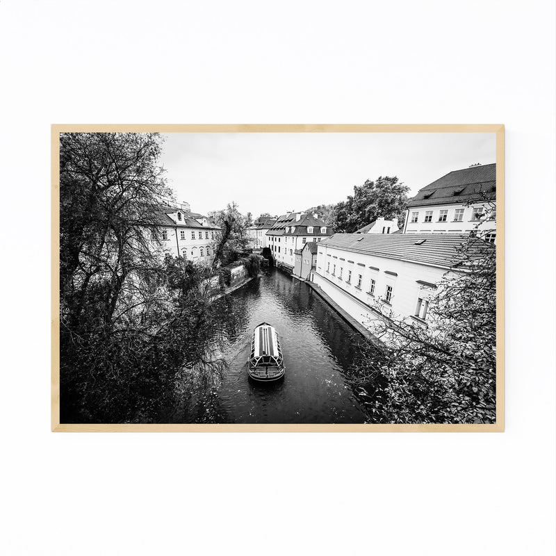 Canal in Prague Black and White Framed Art Print