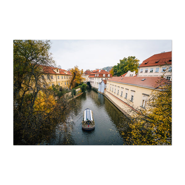 Canal in Prague Black and White Art Print