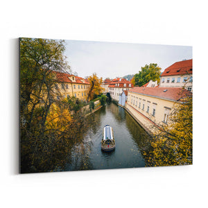 Canal in Prague Black and White Canvas Art Print