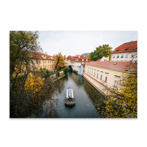 Canal in Prague Black and White Metal Art Print