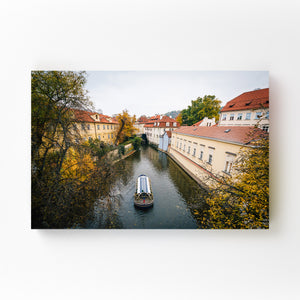 Canal in Prague Black and White Mounted Art Print