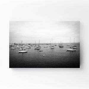 Sailboats in Harbor Maritime Mounted Art Print