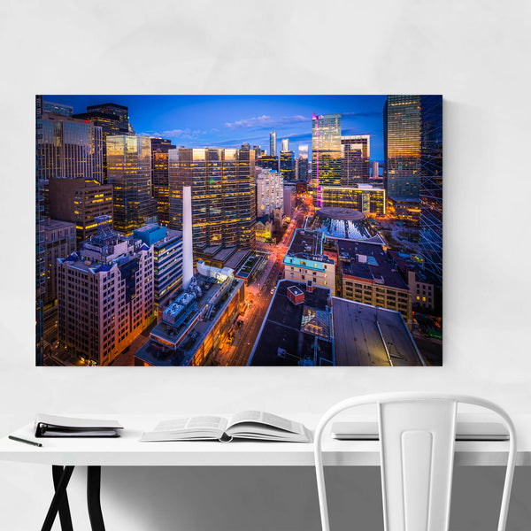 Toronto Downtown Skyline Night Art Print