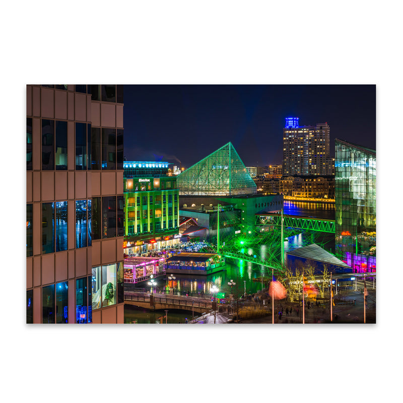 Inner Harbor Cityscape Baltimore Metal Art Print