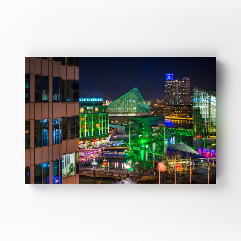 Inner Harbor Cityscape Baltimore Mounted Art Print