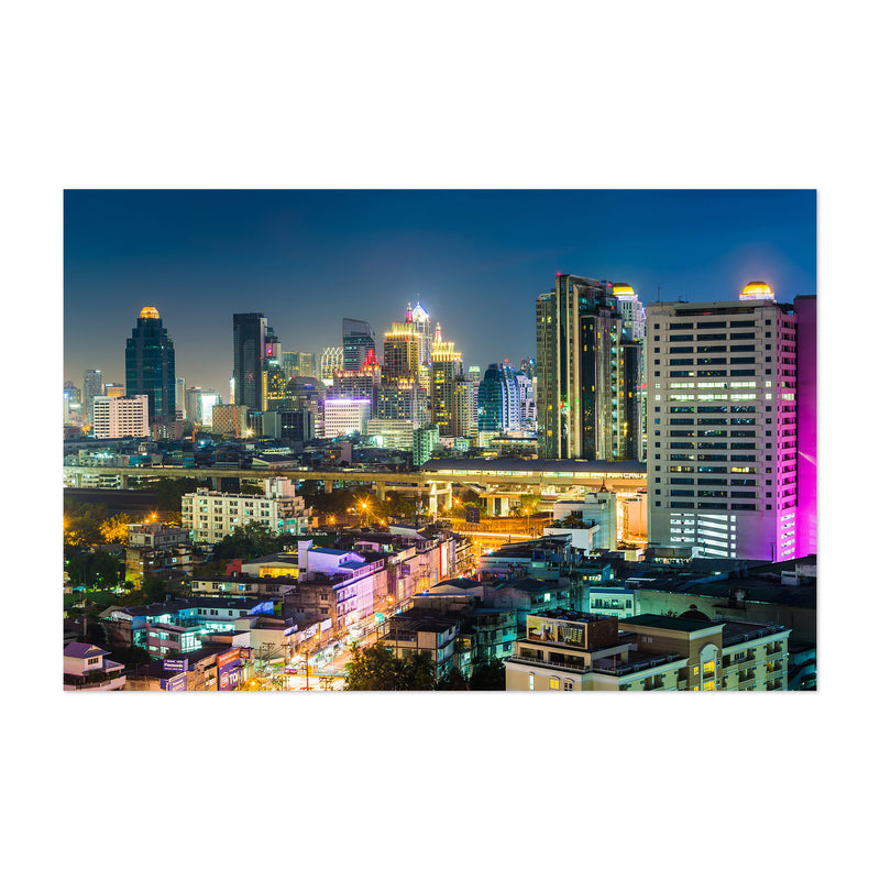 Bangkok Modern Skyline Night Art Print
