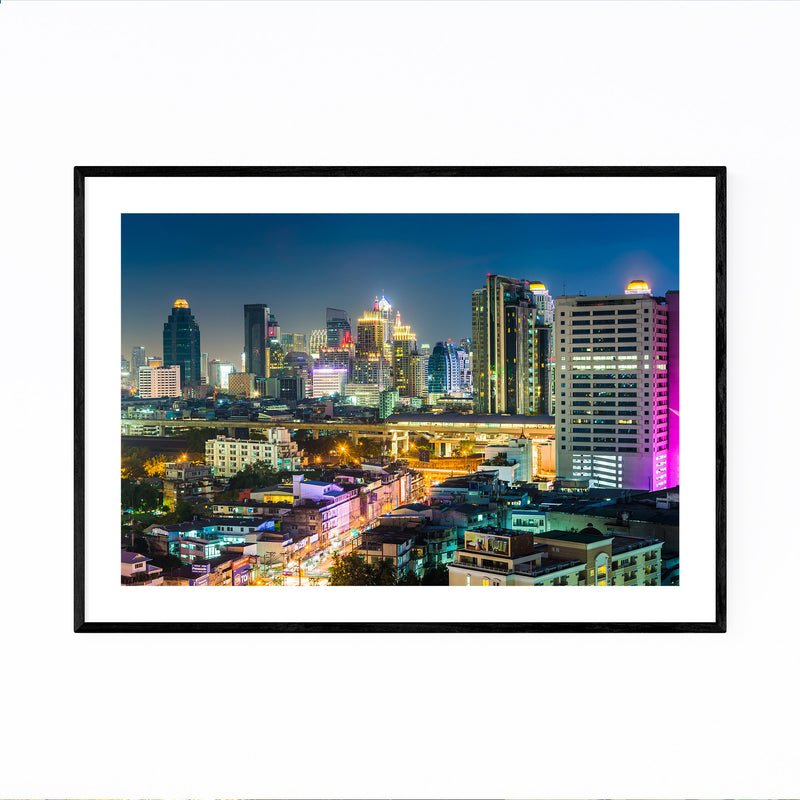 Bangkok Modern Skyline Night Framed Art Print