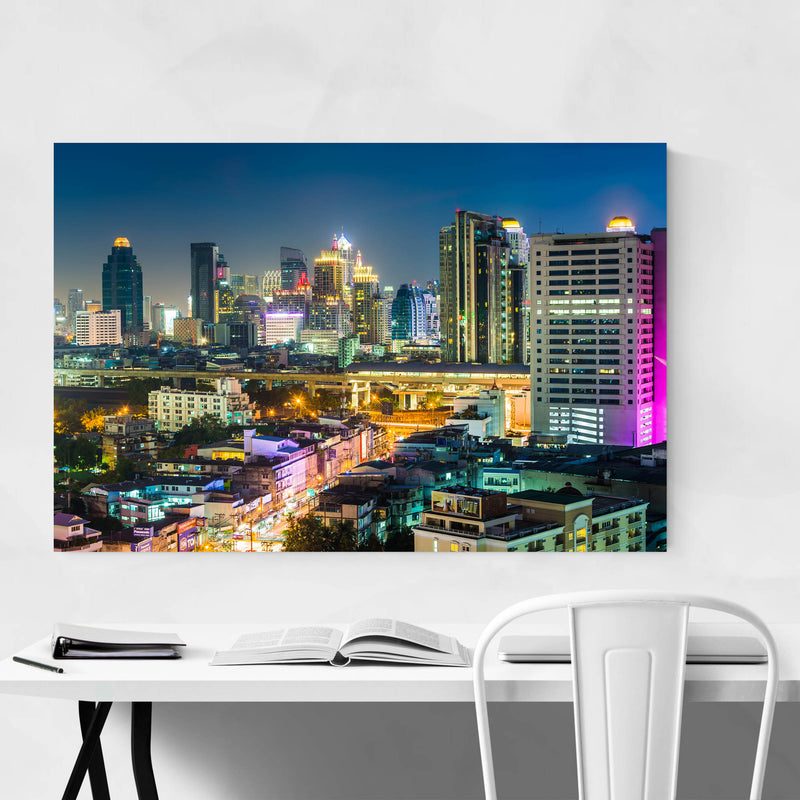 Bangkok Modern Skyline Night Metal Art Print