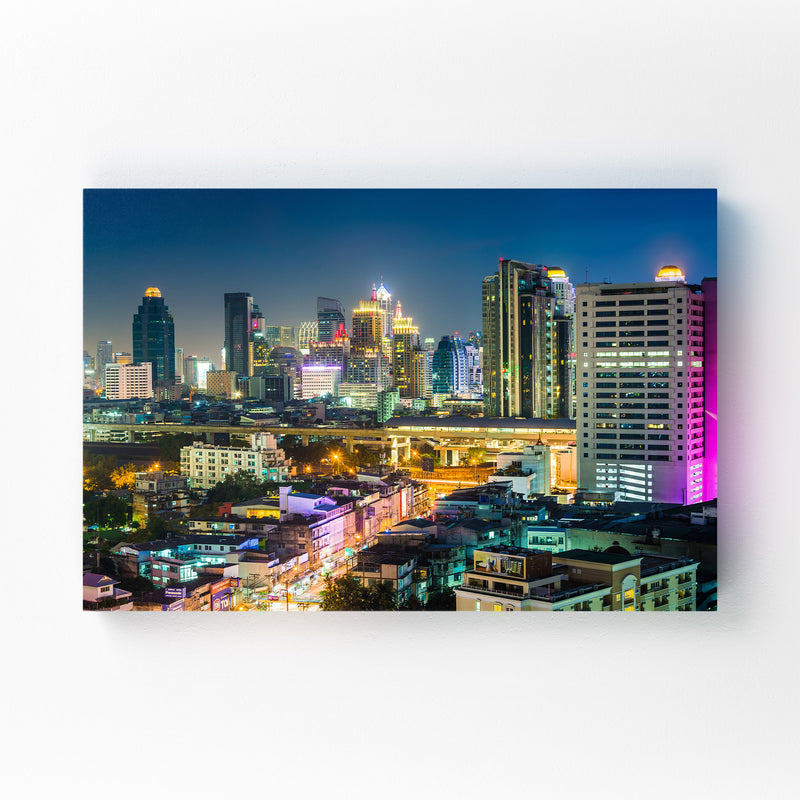 Bangkok Modern Skyline Night Canvas Art Print
