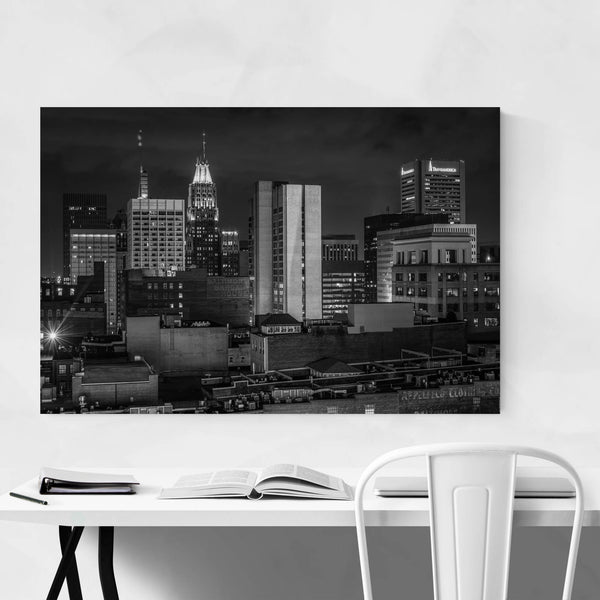 Black & White Baltimore Skyline Art Print