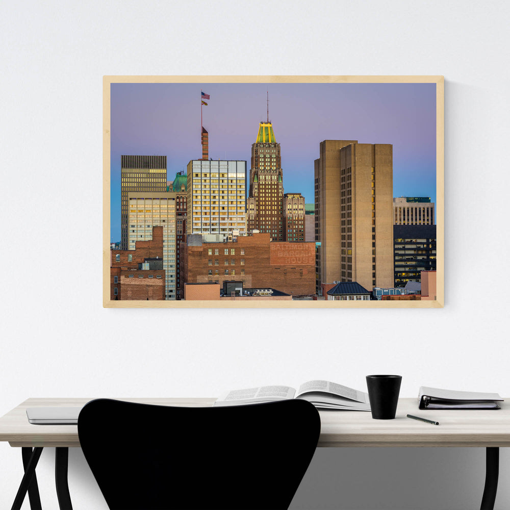 Baltimore MD Downtown Skyline Framed Art Print
